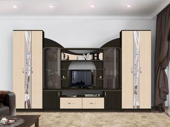 Гостиная Аллегро-5 с 2 шкафами венге-дуб белфорт