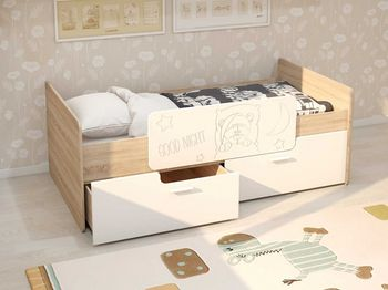 Кровать Умка с 2 ящиками и ограничителем дуб сонома-белый глянец
