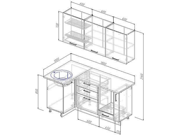 Кухонный гарнитур угловой Антрацит 1800х1000