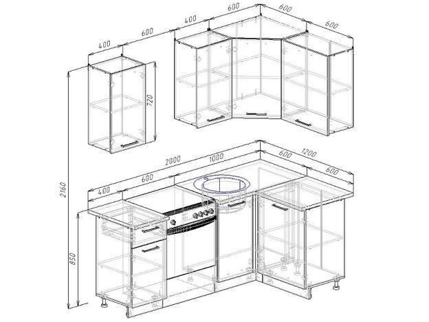 Кухонный гарнитур угловой Латте 1200х2000