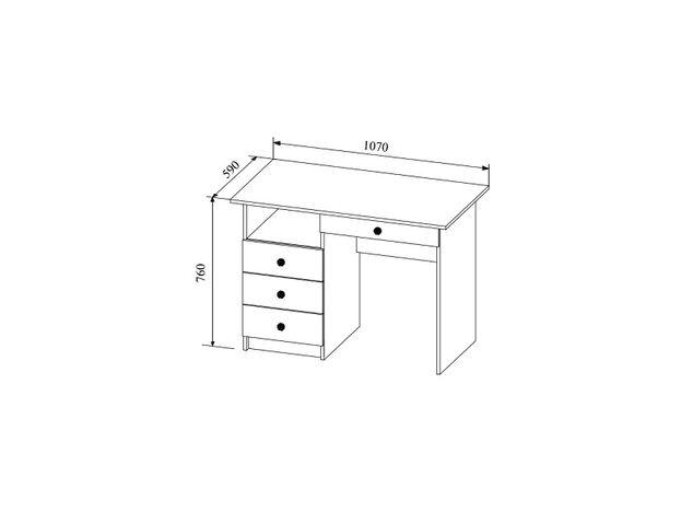 Стол письменный Сканди СТД1070.1 дуб бунратти-белый глянец