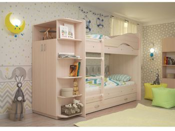 2-х ярусная кровать Мая с ящиками и шкафом дуб млечный