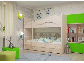 Двухъярусная кровать Мая с ящиками дуб млечный