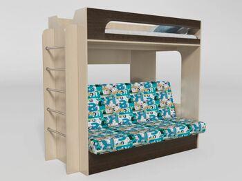 Кровать 2-х ярусная № 9 с диваном венге