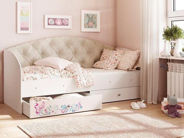 Кровать Эльза с 2 ящиками велюр бежевый