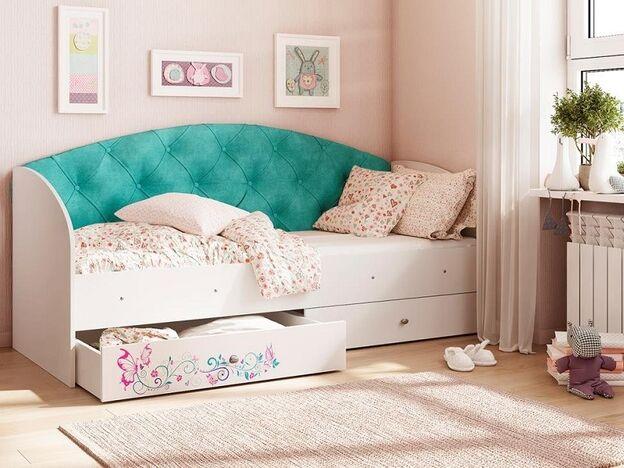 Кровать Эльза с 2 ящиками велюр бирюзовый