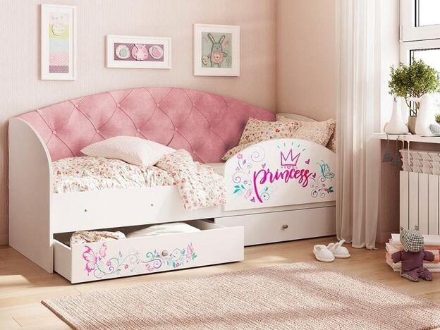 Кровать Эльза с 2 ящиками велюр розовый