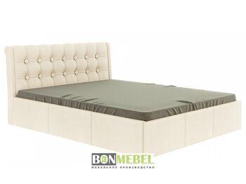 Кровать Лагуна 1600 с ПМ кожзам бежевый
