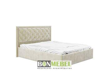 Кровать Мишель 1600 с ПМ стразы вельвет беж