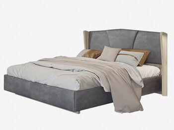 Кровать с ортопедическим основанием Шер дуб серый-Alpina 14 графит