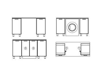 Модуль для установки стиральной машины под общую столешницу МС700 700х716х116 Прованс
