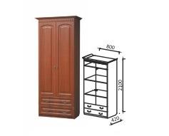 Шкаф 2-х дверный с ящиками для платья Гармония-4