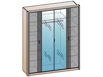 Шкаф 4-х дверный с 2 зеркалами Шер ШК-2307 дуб серый