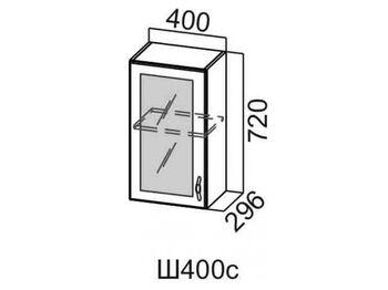 Шкаф навесной со стеклом 400 Ш400с-720 720х400х296мм Прованс