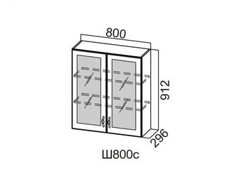 Шкаф навесной со стеклом 800 Ш800с-912 912х800х296мм Прованс