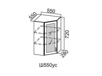 Шкаф навесной угловой со стеклом 550 Ш550ус-912 912х550х600мм Прованс