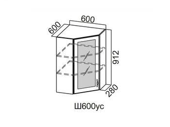 Шкаф навесной угловой со стеклом 600 Ш600ус-912 912х600х600мм Прованс