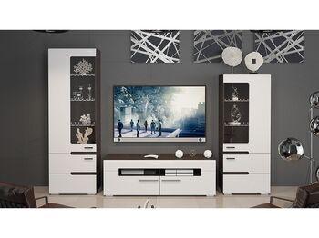 Модульная гостиная Фьюжн Белый глянец-Венге Линум