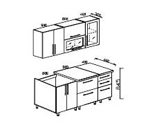 Кухонный гарнитур Мыло 2,0 МДФ черно/белый металлик