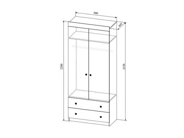 Шкаф 2х-створчатый с ящиками Сканди ШД900.1 дуб бунратти-белый глянец