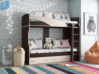 Кровать 2-х ярусная Мийа-А Венге-Дуб молочный